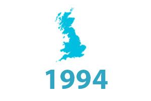 SLR timeline graphic 1994. Map of United Kingdom.