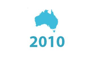 SLR timeline graphic 2010. Map of Australia.