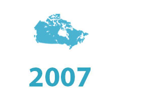 SLR timeline graphic 2007. Map of Canada.