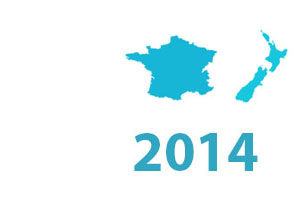 SLR timeline graphic 2014. Map of New Zealand and France.