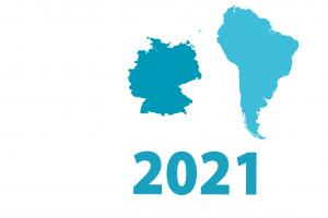 SLR timeline graphic 2021. Small outline map of Germany & South America.