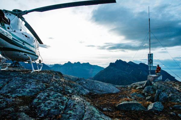 Dominic Shallies services a communications repeater above Iliamna Bay, Alaska.