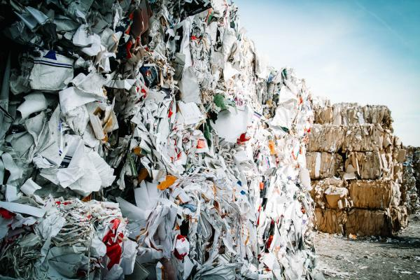 piles of recycling waste