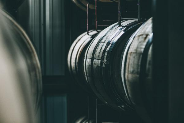 barrels in a distillery