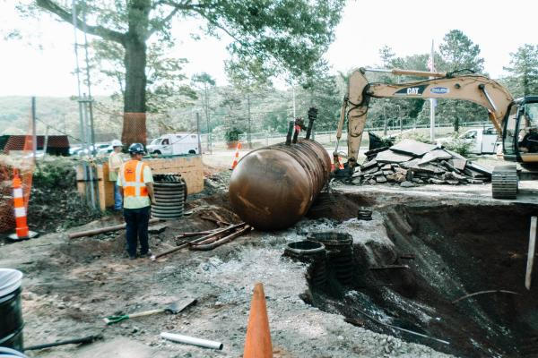 Removal of existing underground fuel storage tank