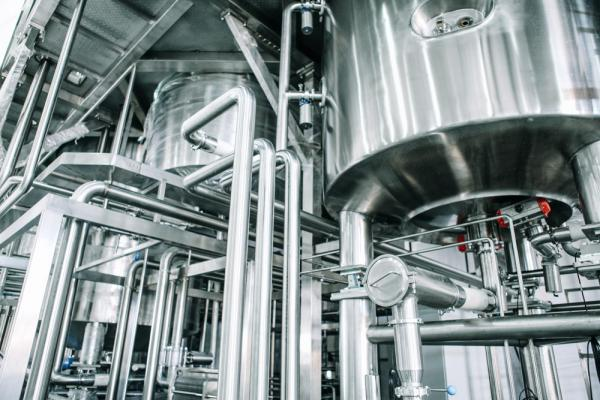 upclose image of machinery in a brewery