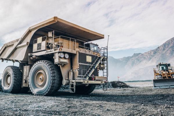 Mining trucks in a quarry