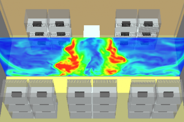 This image of a CFD model shows varying air velocities throughout a facility.
