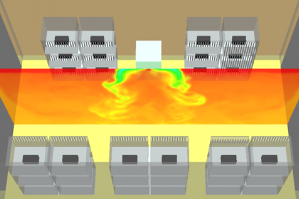 This image of a CFD model shows temperature variation throughout a facility. You can clearly see the HVAC system blowing cold air.