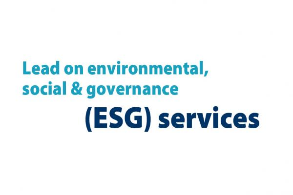 Text reading: Lead on environmental, social and governance (ESG) services