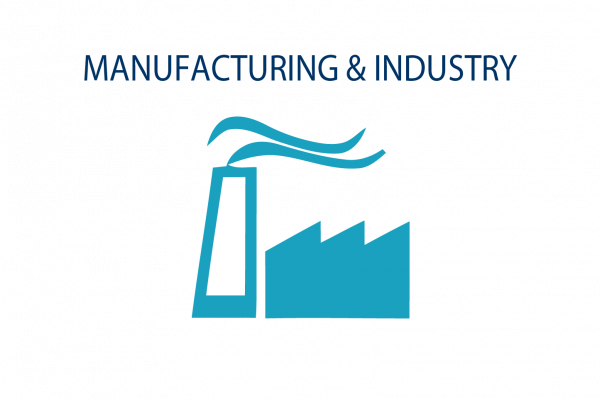 Graphic image showing manufacturing + industry icon