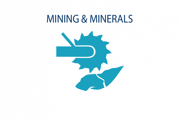 Graphic image showing mining + minerals industry icon
