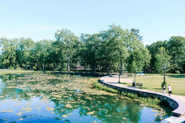 Lake and trees in Rockwell Park