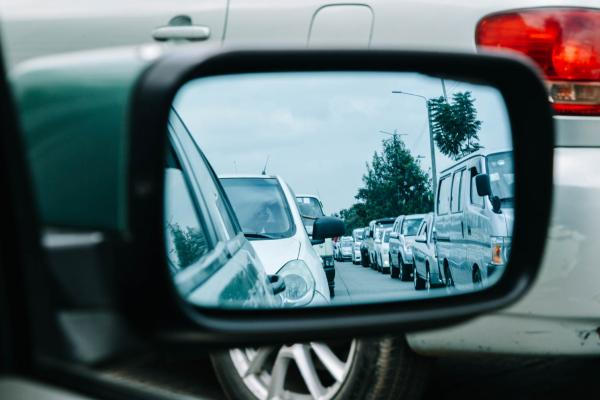 Traffic congestion - a view from a car wing mirror