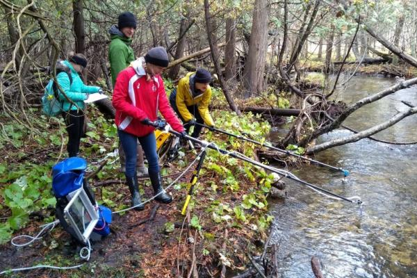 Water sample collection and filtration during the eDNA survey to detect Brook trout in Hanlon Creek, Guelph ON.