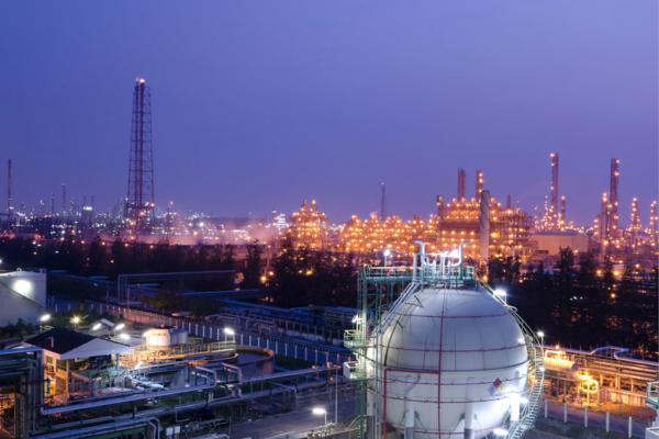 landscape night scene with chemical plant