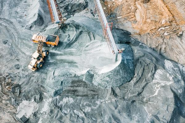 overhead shot of a mining site