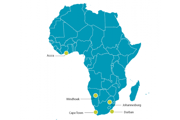 map of africa with SLR offices highlighted