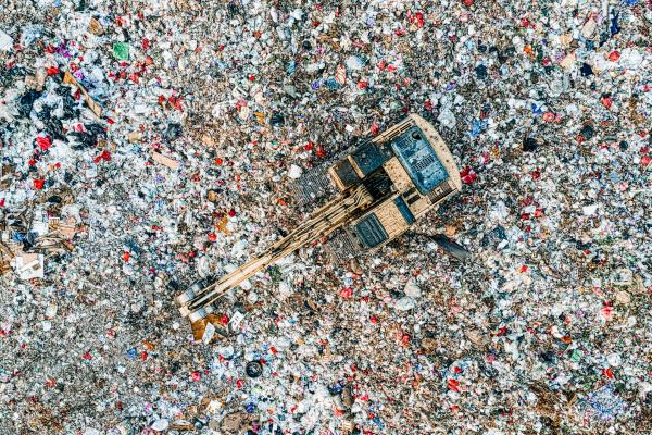 Bird's eye view of a landfill site