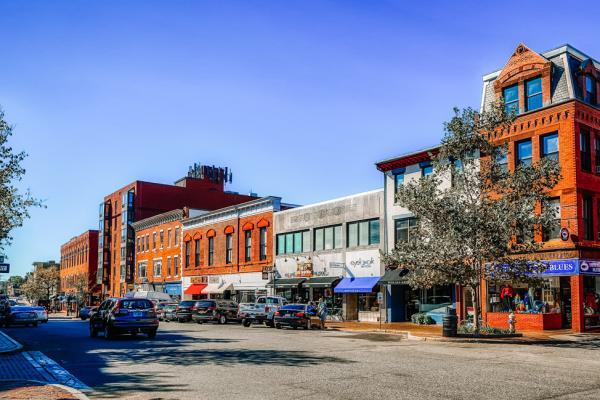 The downtown area of Gorham, Maine, United States