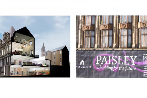Visualisation of building in Paisley and close up of banner saying 'Paisley is building for the future'