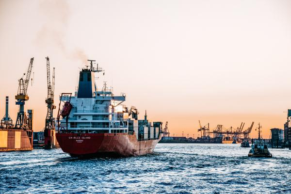 Cargo ship at a port
