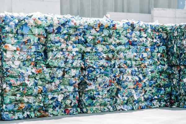 stacks of flattened plastic