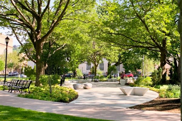 Renovated sidewalks and greenery at Library Park, Waterbury, Connecticut