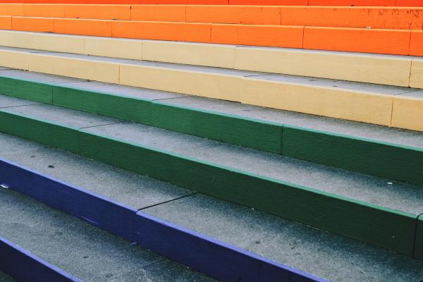 brightly coloured stairs outdoors