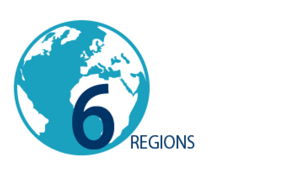 Graphic image of a globe and the words: 6 regions