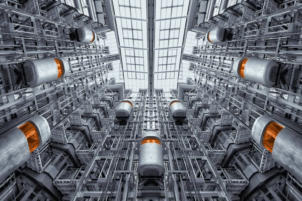 view up inside industrial building