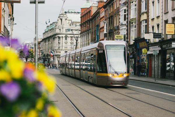 tram in city centre