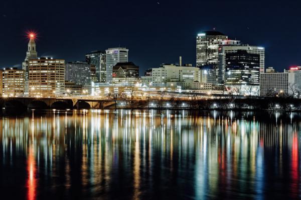Hartford, Connecticut, USA at night