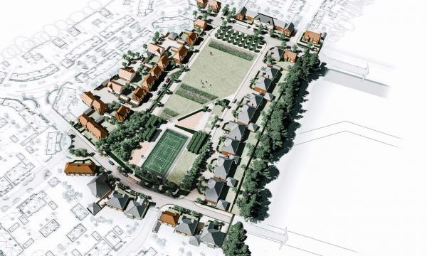 overhead visualisation of neighbourhood with houses and green space