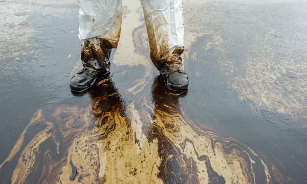 Oil Clean up on Beach