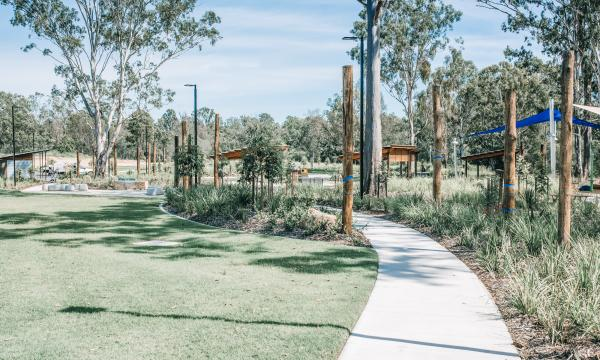 outside green space with path and shades