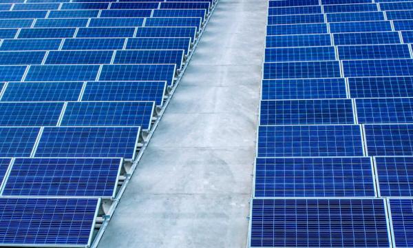 Aerial shot of solar panels